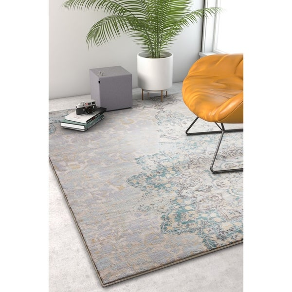 Well Woven Blue/Ivory Vintage Medallion Area Rug - 7'10 x 10'6