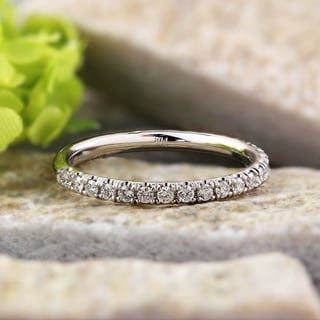 Auriya 14k White Gold 2/5ct TDW Round Cut Diamond Wedding Band