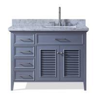 Ariel Kensington 43 In. Right Offset Single Sink Vanity in Grey