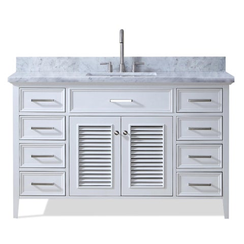 Ariel Kensington 55 In. Single Sink Vanity in White
