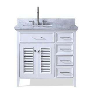 Ariel Kensington 37 In. Left Offset Single Sink Vanity in White