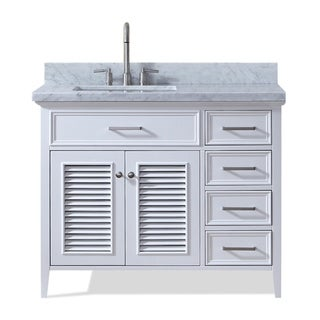 Ariel Kensington 43 In. Left Offset Single Sink Vanity in White
