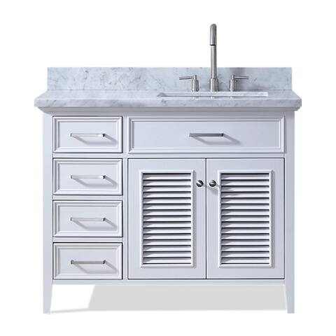 Ariel Kensington 43 In. Right Offset Single Sink Vanity in White
