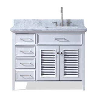 Ariel Kensington 43 In. Right Offset Single Sink Vanity in White