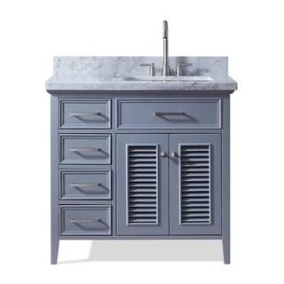 Ariel Kensington 37 In. Right Offset Single Sink Vanity in Grey