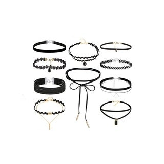 Linel Black Faux Leather Lace Velvet 10 Piece Choker Set