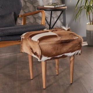 Agnes Spring Buck Hide Square Ottoman Stool by Christopher Knight Home