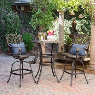 Alfresco Outdoor 3-piece Round Aluminum Bar Set with Umbrella Hole by Christopher Knight Home