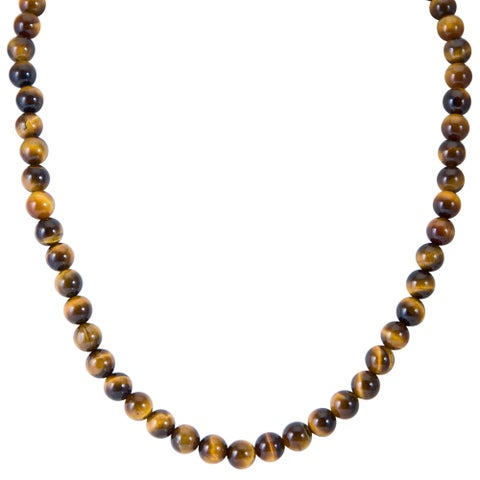 Sterling Silver 8mm Tiger Eye 18 or 20 inch Bead Necklace