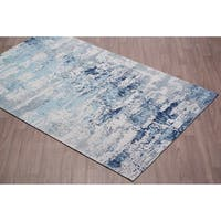 Vestige Cotton Chenille Palazzo Blue Abstract Area Rug - 8' x10'