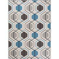 "Contemporary Geometric Stripe Non-Slip Rug Blue - 1'8"" x 2'6"""