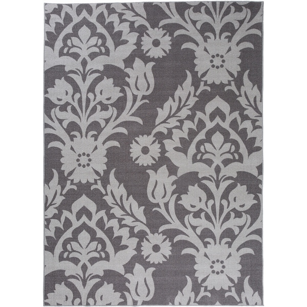"Modern Transitional Damask Non-Slip Rug Gray - 1'8"" x 2'6"""