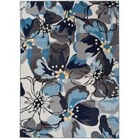 "Modern Large Floral Non-Slip Rug Gray-Blue - 1'8"" x 2'6"""
