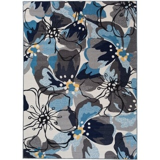 "Modern Large Floral Non-Slip Rug Gray-Blue - 1'8"" x 2'6"""