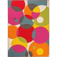 "Modern Contemporary Circles Non-Slip Rug Multi - 1'8"" x 2'6"""