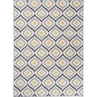 """Modern Moroccan Design Non-Slip Rug Gray-Yellow - 1'8"""" x 2'6"""""""