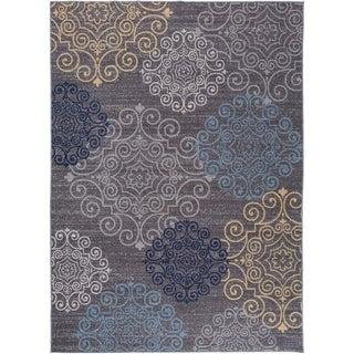 "Modern Floral Swirl Design Non-Slip Rug Gray - 1'8"" x 2'6"""