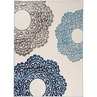 "Contemporary Large Floral Non-Slip Rug Blue - 1'8"" x 2'6"""