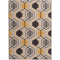 "Contemporary Geometric Stripe Non-Slip Rug Yellow - 1'8"" x 2'6"""