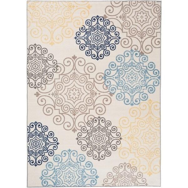 "Modern Floral Swirl Design Non-Slip Rug Cream - 1'8"" x 2'6"""