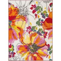 Modern Bright Flowers Multicolored Non Slip Non Skid Area