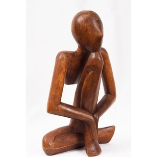 """Yoga Hand Carved Sculpture  Brown (Bali Indonesia 12"""")"""