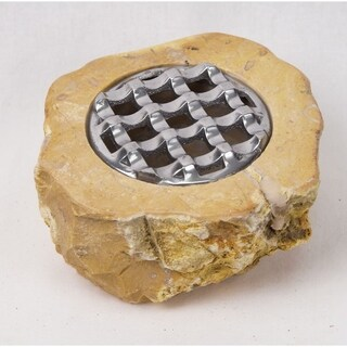 "Solid Marble Live Edge Ashtray Removable Metal Top Wind Resistant (6"" diameter)"