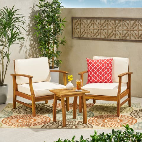 Perla Outdoor 2 Seater Acacia Wood Chat Set with Cushions by Christopher Knight Home
