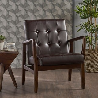 Marcola Mid Century Modern Faux Leather Club Chair with Wood Frame by Christopher Knight Home