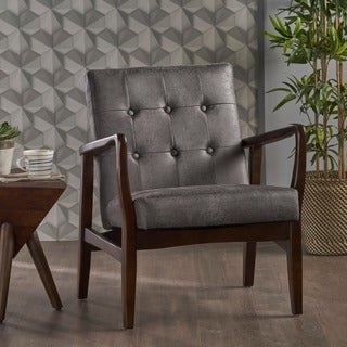 Callahan Mid Century Modern Microfiber Club Chair by Christopher Knight Home