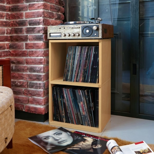 Eco 2 Shelf Vinyl LP Record Album Storage Cube Natural LIFETIME GUARANTEE