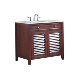Modetti Palm Beach Brown Birchwood 36-inch Single-sink Bathroom Vanity with Crystal White Marble Top