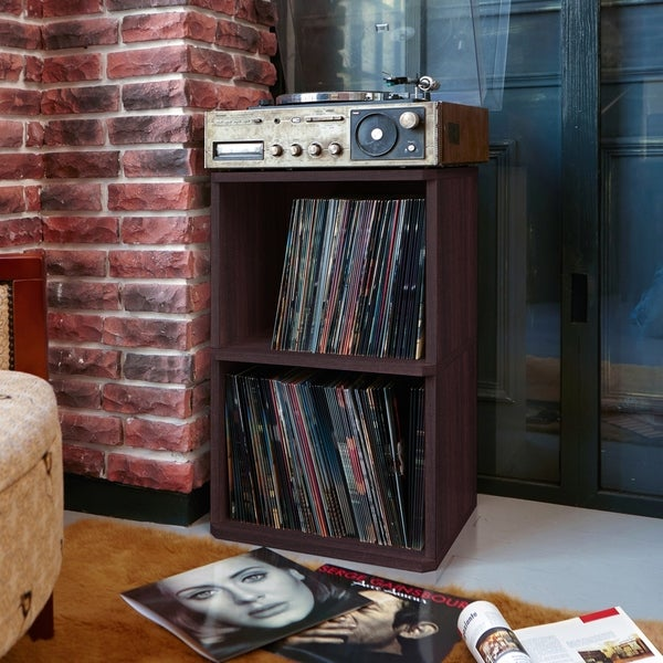 Attirant Eco 2 Shelf Vinyl LP Record Album Storage Cube Espresso LIFETIME GUARANTEE