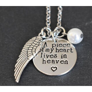 """Inspirational, Hope, Memory """"A Piece of My Heart Lives In Heaven"""" Pendant Necklace"""