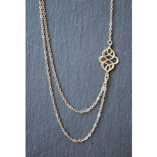 Mint Jules Delicate Double Infinity Multi Chain Layering Gold Necklace