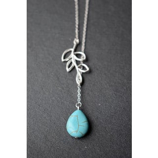 Mint Jules Turquoise Stone Silver Lairiat Pendant Leaf Necklace