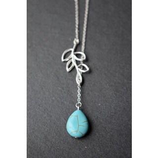 Mint Jules Turquoise Stone Silver Lairiat Pendant Leaf Necklace