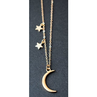 Mint Jules Dainty Moon and Double Stars Pendant Necklace