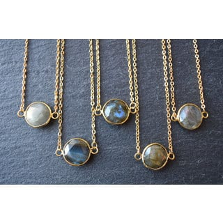 Mint Jules Bezel Round Labradorite Gemstone Horizontal Pendant Necklace 24k Gold Plated|https://ak1.ostkcdn.com/images/products/17949526/P24127784.jpg?impolicy=medium