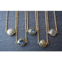 Mint Jules Bezel Round Labradorite Gemstone Horizontal Pendant Necklace 24k Gold Plated