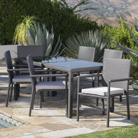 San Pico Outdoor 7-piece Rectangular Wicker Tempered Glass Dining Set with Cushions by Christopher Knight Home