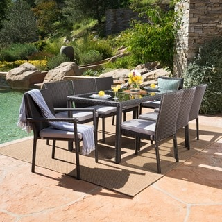 San Pico Outdoor 9 Piece Rectangular Wicker Tempered Glass Dining Set With  Cushions By Christopher