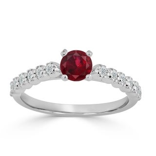 Auriya 14k Gold 2/5ct Ruby and 1/5ct Round Diamond  Engagement Ring - Red