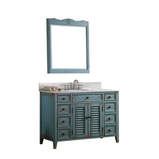 Modetti Palm Beach Distressed Blue Birchwood 47 Inch Single Sink Bathroom  Vanity With Crystal