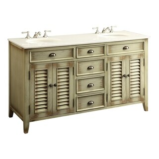 Modetti Palm Beach Distressed Cream Wood 60-inch Double Sink Bathroom Vanity with Marble Top