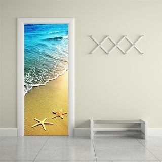 3d Door Wallpaper Murals Wall Stickers Starfish and Waves for Home Decoration Self-adhesive Removable Wall Vinyl
