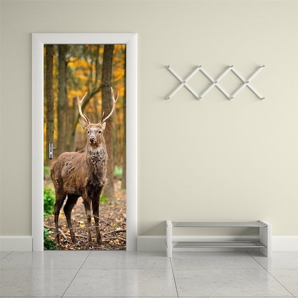 3d Door Wallpaper Murals Wall Stickers Deer for Kids Room Decoration Self-adhesive Removable Decals & 3d Door Wallpaper Murals Wall Stickers Deer for Kids Room Decoration ...