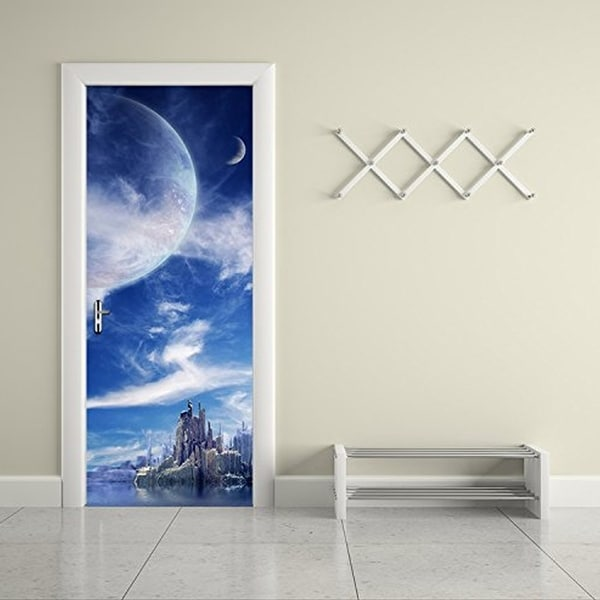 3d Door Wall Mural Wallpaper Stickers Fantasy Planet Self Adhesive  Removable Art Door Decals Wall