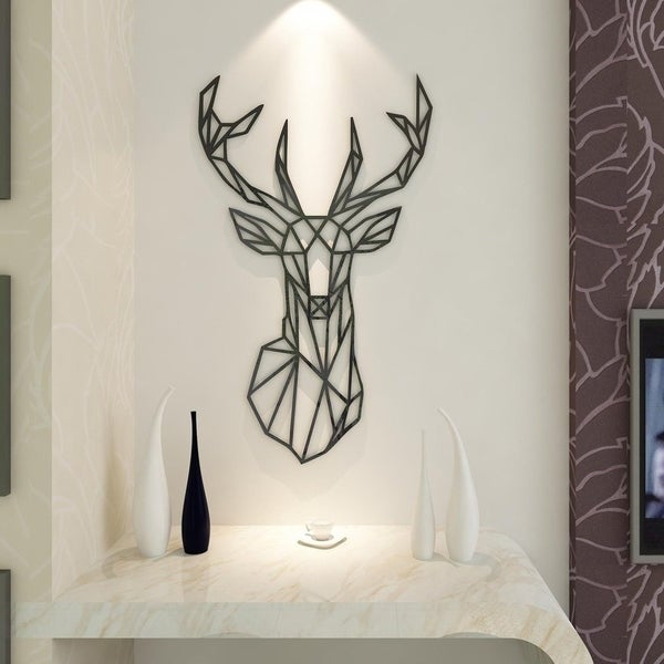 Acrylic Wall Stickers, 3D Crystal Wall Decals  The Art Deer Wall Vinyl