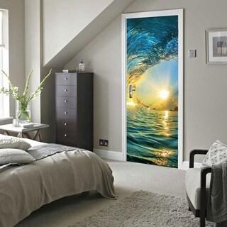 Door Wall Mural Wallpaper Stickers Ocean Wave Vinyl Removable 3D Decals Wall Vinyl
